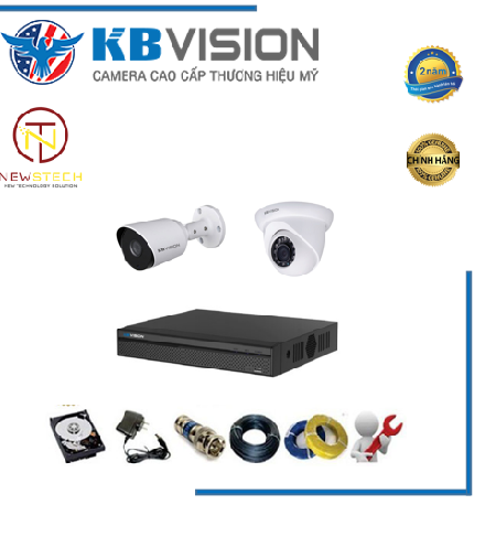 Trọn bộ 2 camera kbvision full HD