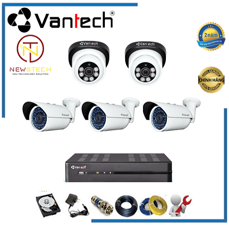 Lắp đặt trọn bộ 5 camera vantech Full HD