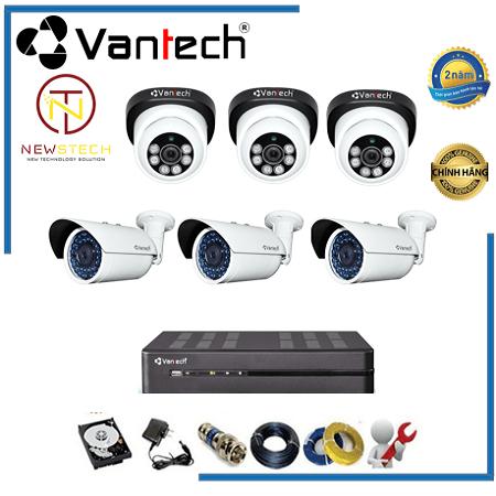 Lắp đặt trọn bộ 6 camera vantech Full HD