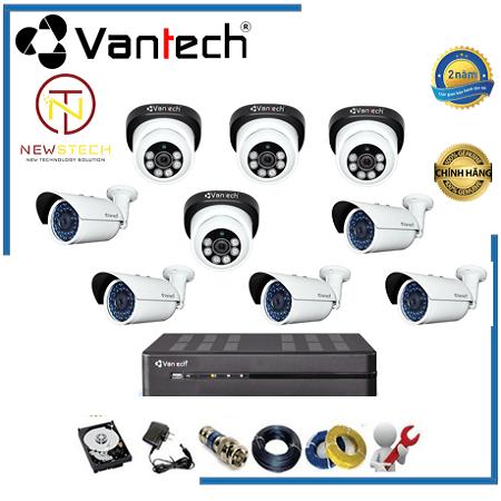 Lắp đặt trọn bộ 9 camera Vantech full HD